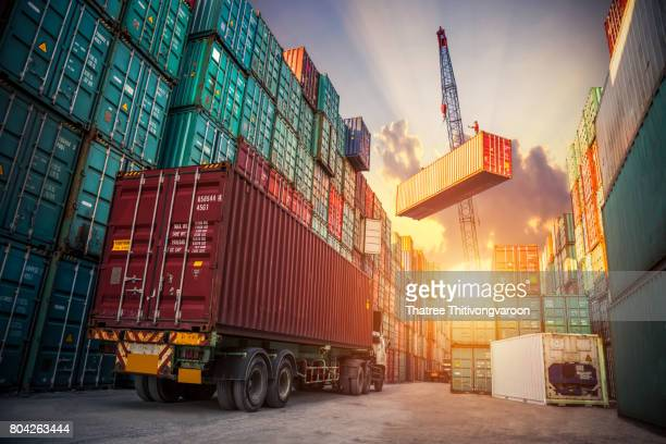 logistics and transportation of industrial container cargo freight ship for logistic import export concept - container stock-fotos und bilder