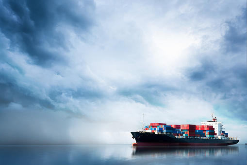 Logistics and transportation of International Container Cargo ship in the ocean, Freight Transportation, Shipping 905238538