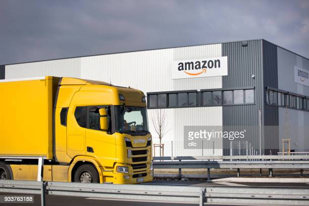 logistics center of amazon in raunheim-moenchhof, germany - amazon warehouse stock pictures, royalty-free photos & images