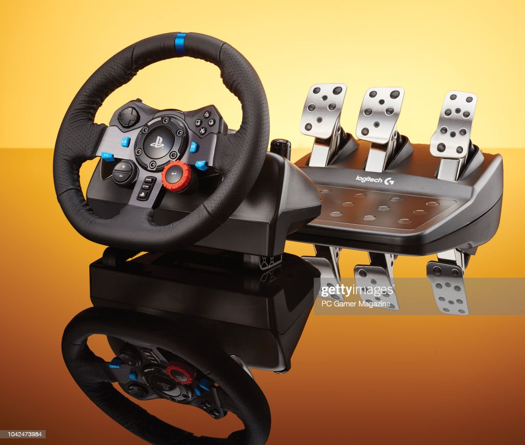 A Logitech G29 racing wheel and pedal set, taken on August 4, 2017