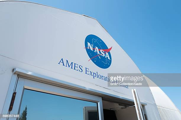 Logo and signage at entrance to NASA Ames Exploration Center a visitor center at the NASA Ames Research Center campus in the Silicon Valley town of...