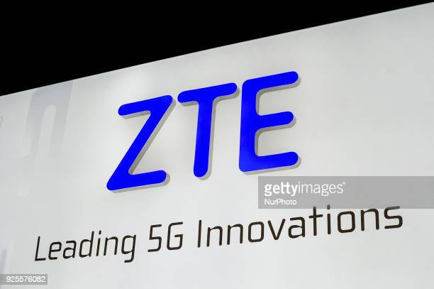 ZTE logo at ZTE pavilion during theMobile World Congress day 3 on February 28 2018 in Barcelona Spain