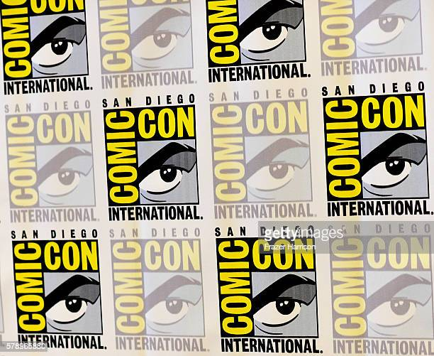 """Logo backdrop as seen at """"The 100"""" Press Line during Comic-Con International 2016 at Hilton Bayfront on July 22, 2016 in San Diego, California."""