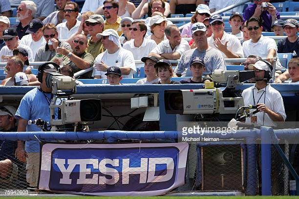 YES logo banner is on display at the New York Yankees vs the Chicago White Sox game at Yankee Stadium on August 2 2007 in the Bronx borough of New...