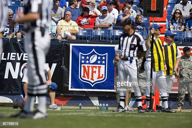 NFL logo banner on the sidelines during a game between the Tennessee Titans and the Jacksonville Jaguars at LP Field on September 7 2008 in Nashville...