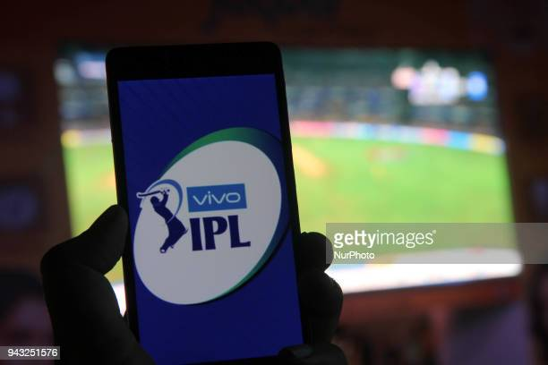 IPL Logo can be seen on a Mobile in Delhi India on 7 April 2018