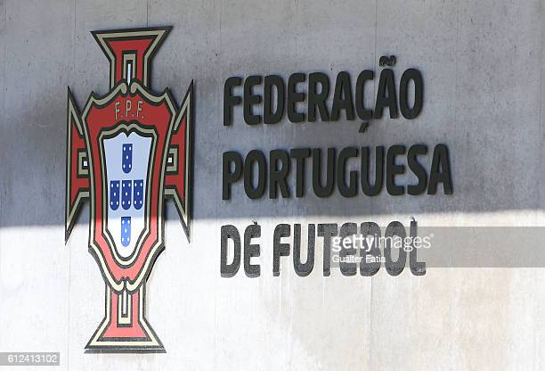 FPF logo during Portugal's National Team Training session before the 2018 FIFA World Cup Qualifiers matches against Andorra and the Faroe Islands at...