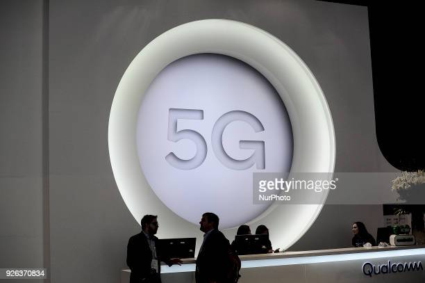 5G logo during the Mobile World Congress day 4 on March 1 2018 in Barcelona Spain