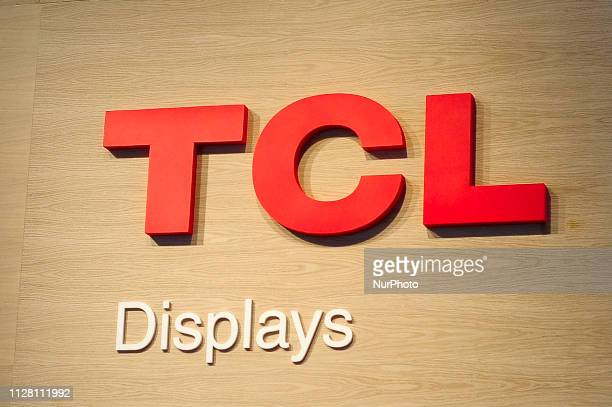 TCL logo exhibited during the Mobile World Congress on February 28 2019 in Barcelona Spain
