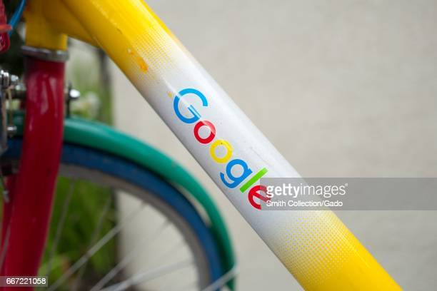 Logo for Google Inc on a frame of a Google Bike near the Googleplex the Silicon Valley headquarters of search engine and technology company Google...