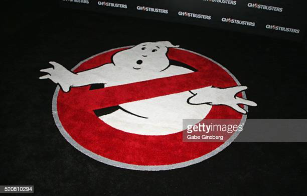 "Logo for the movie ""Ghostbusters"" is displayed during Sony Pictures Entertainment's exclusive product presentation highlighting 2016 films at The..."