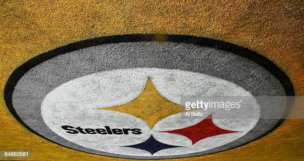 A logo for the Pittsburgh Steelers is seen painted in the end zone during Super Bowl XLIII on February 1 2009 at Raymond James Stadium in Tampa...