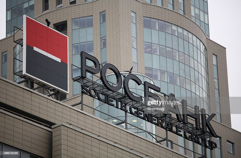A logo for the Societe Generale Group sits on display outside the headquarters of OAO Rosbank in Moscow, Russia, on Tuesday, April 22, 2014. Bankers collected $108 million on Russian deals through April 20, compared with $325 million a year earlier, according to data from Freeman & Co., a New York consulting firm. Photographer: Andrey Rudakov/Bloomberg via Getty Images