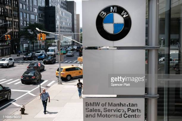 BMW logo is displayed at a BMW showroom in Manhattan on August 01 2019 in New York City Blaming slowing sales in the US China and Europe BMW...