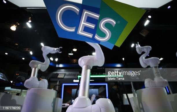 CES logo is displayed by a robot at the Doosan booth during exhibitor setups for CES 2020 at the Las Vegas Convention Center on January 5 2020 in Las...