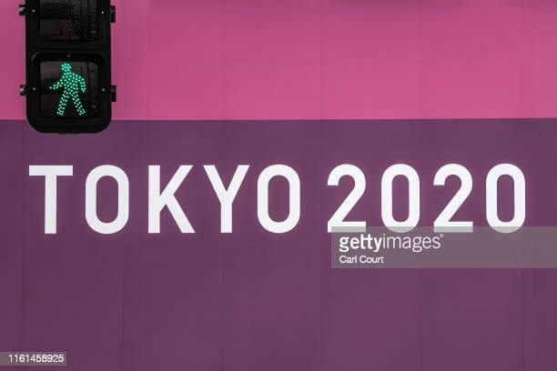 A logo is displayed on a fence surrounding the Tokyo 2020 Olympics Equestrian Park on August 13 2018 in Tokyo Japan The park is one of a number of...