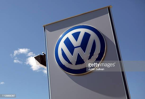A logo is displayed on a sign in front of a Volkswagen dealership on March 28 2011 in San Rafael California Volkswagen of America announced today...