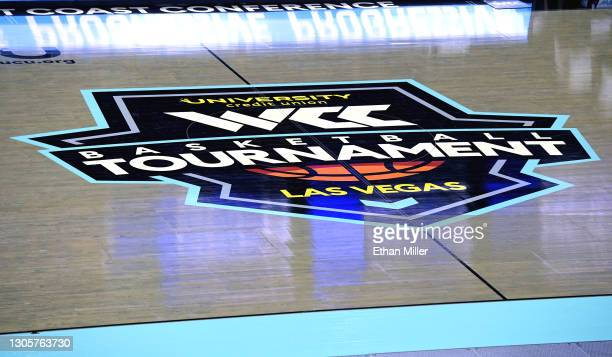 Logo is displayed on the court during a game between the Pepperdine Waves and the Santa Clara Broncos during the West Coast Conference basketball...