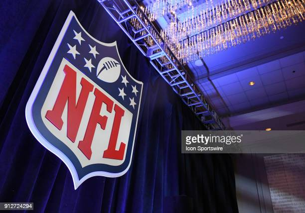 NFL logo is on display at Commissioner Roger Goodell's Super Bowl LII press conference on January 31 2018 at Hilton Minneapolis Grand Ballroom in...