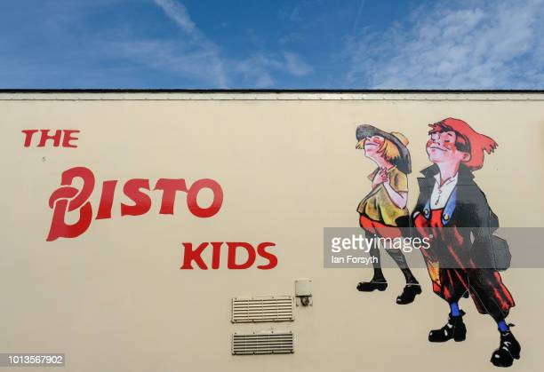 Logo is painted on the side of a vintage lorry during the final day of the Whitby Traction Engine Rally on August 5, 2018 in Whitby, England....