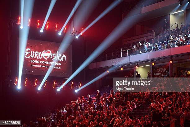 A logo is pictured during the finals of the TV show 'Our Star For Austria' on March 5 2015 in Hanover Germany 'Our Star For Austria' is a national...