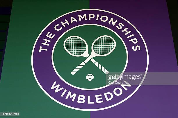 A logo is pictured on day one of Wimbledon tennis tournament on June 29 2015 in London England The 129th tournament to be hosted at Wimbledon is due...