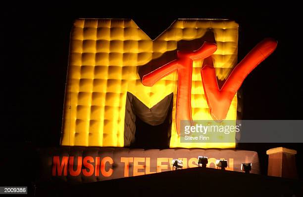 MTV logo is seen at MTV/T3 party at Pierre Cardin's Villa during 56th International Cannes Film Festival 2003 on May 17 2003 in Cannes France