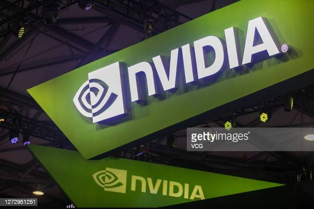 Logo is seen at the Nvidia stand during the 2018 China Digital Entertainment Expo & Conference on August 3, 2018 in Shanghai, China.