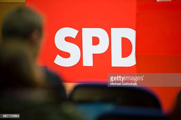SPD logo is seen during a press conference in WillyBrandtHaus on July 27 2015 in Berlin Germany