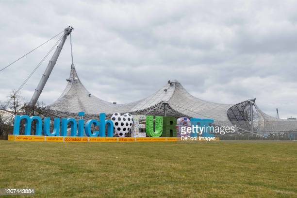 Logo is seen during the press conference UEFA EURO 2020 100 days to go at Olympiahalle on March 3 2020 in Munich Germany