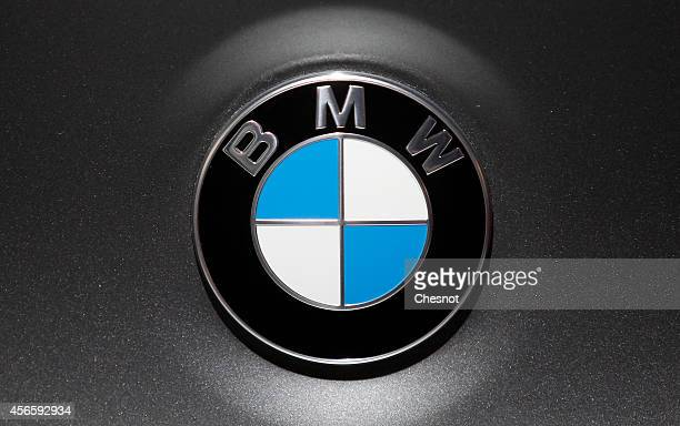 BMW logo is seen during the second press day of the Paris Motor Show on October 03 in Paris France The Paris Motor Show will showcase the latest...