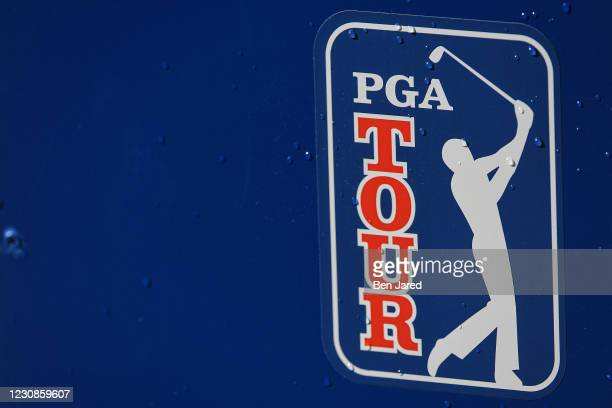 Logo is seen during the second round of the Farmers Insurance Open at Torrey Pines South on January 29, 2021 in San Diego, California.