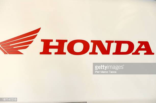 A logo is seen in the Honda motorbike show room during the EICMA 2013 71st International Motorcycle Exhibition on November 6 2013 in Milan Italy