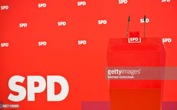 SPD logo is seen next to a lectern during a press conference in WillyBrandtHaus on July 27 2015 in Berlin Germany