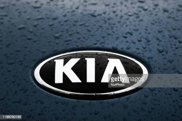 Logo is seen on car mask in Poland on February 2, 2020.