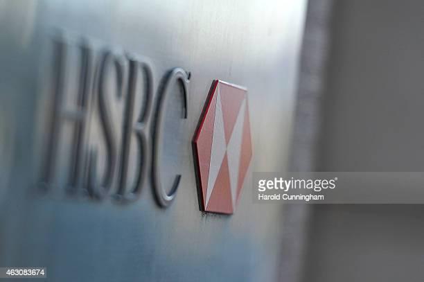 HSBC logo is seen on HSBC offices on February 9 2015 in Geneva Switzerland