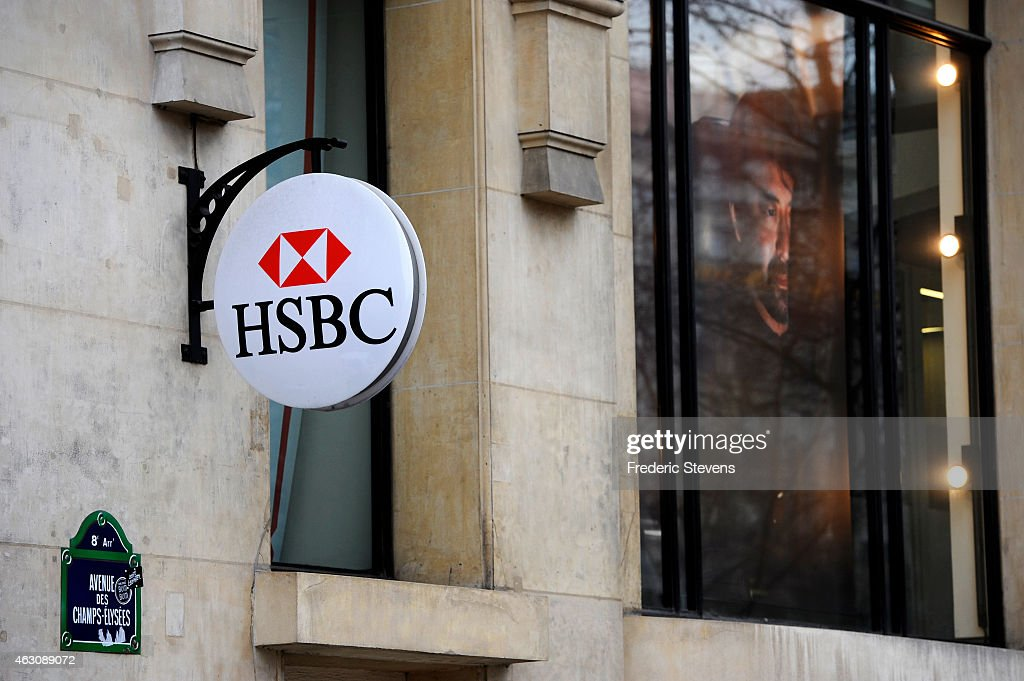 A HSBC logo is seen on HSBC offices on February 9, 2015 in Paris