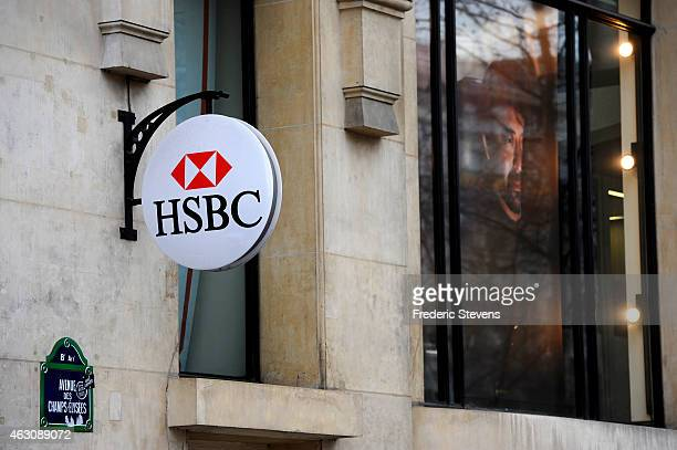 HSBC logo is seen on HSBC offices on February 9 2015 in Paris France It has been discovered that the HSBC bank has helped wealthy clients to evade...