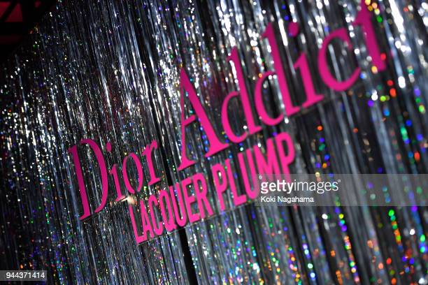A logo is seen on the Dior Addict Lacquer Plump Party at 1 OAK on April 10 2018 in Tokyo Japan