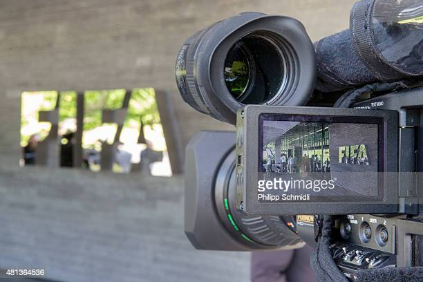 FIFA logo is seen on the display of a TV camera prior to a press conference at the Extraordinary FIFA Executive Committee Meeting at the FIFA...