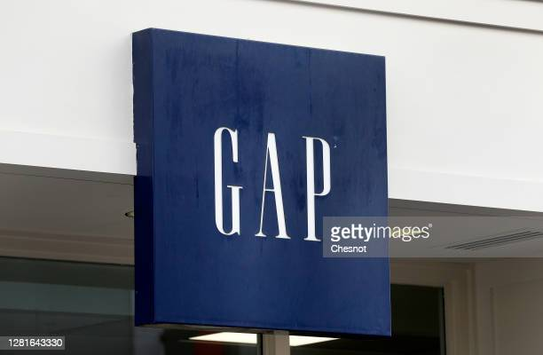 Logo is seen on the facade of a store on October 22, 2020 in Paris, France. The US ready-to-wear brand GAP wishes to review its strategy in Europe,...