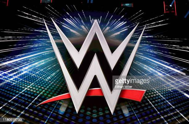 Logo is shown on a screen before a WWE news conference at T-Mobile Arena on October 11, 2019 in Las Vegas, Nevada. It was announced that WWE wrestler...