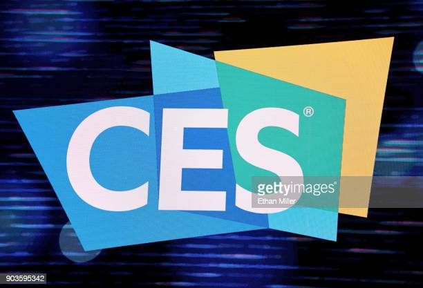 CES logo is shown on a screen during a keynote panel on reimagining television at CES 2018 at Park Theater at Monte Carlo Resort and Casino in Las...