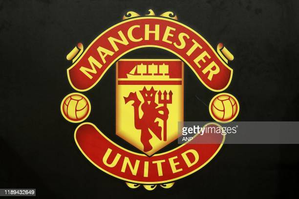 logo Manchester United during the UEFA Europa League group L match between Manchester United and AZ Alkmaar at at Old Trafford on December 12 2019 in...
