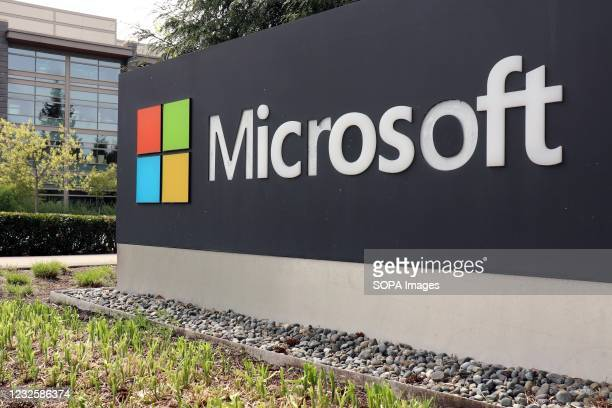 Logo marking the edge of the Microsoft corporate campus in Redmond, United States. The company announced its Q2 earnings on 27th Apr 2021.