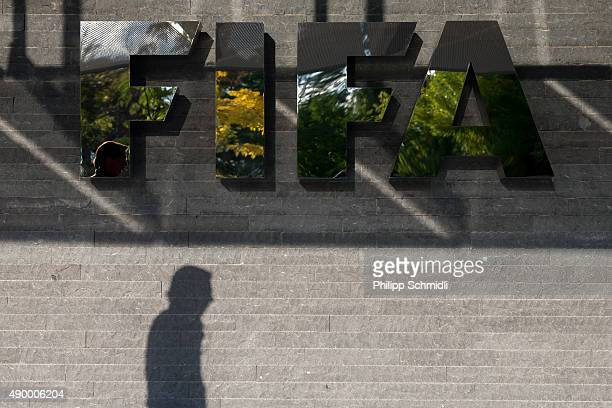 FIFA logo next to the entrance at the FIFA headquarters on September 25 2015 in Zurich Switzerland