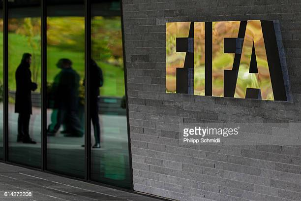 Logo next to the entrance during part I of the FIFA Council Meeting 2016 at the FIFA headquarters on October 13, 2016 in Zurich, Switzerland.
