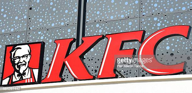 Logo of a KFC restaurant in Milan during the opening of a new Kentucky Fried Chicken branch on July 28 2016 in Milan Italy KFC Milan seats 160 with...