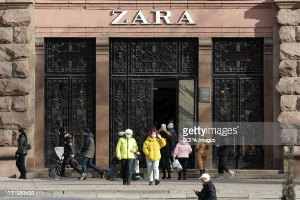 Logo of a Spanish apparel retailer is seen above the entrance of a Zara brand store in Kiev.