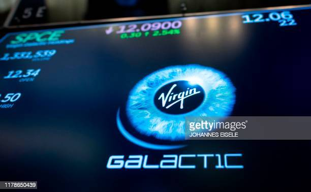 Logo of a Virgin Galactic is seen on floor during the company's first day of trading on the New York Stock Exchange on October 28, 2019 in New York...